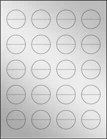 "Sheet of 1.5"" Circle Perf. Center Silver Foil Inkjet labels"