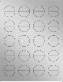 "Sheet of 1.5"" Circle Perf. Center Weatherproof Silver Polyester Laser labels"