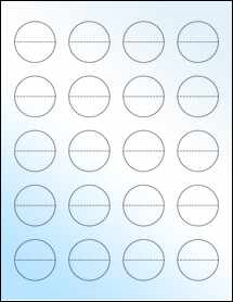 "Sheet of 1.5"" Circle Perf. Center White Gloss Inkjet labels"