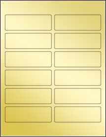 """Sheet of 3.75"""" x 1.25"""" Gold Foil Inkjet labels"""