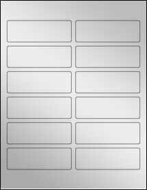 """Sheet of 3.75"""" x 1.25"""" Silver Foil Inkjet labels"""