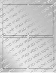 "Sheet of 3.75"" x 4.75"" Void Silver Polyester labels"