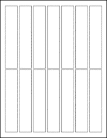 "Sheet of 1"" x 5"" Aggressive White Matte labels"