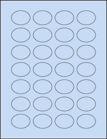 "Sheet of 1.5"" x 1.125"" Oval Pastel Blue labels"