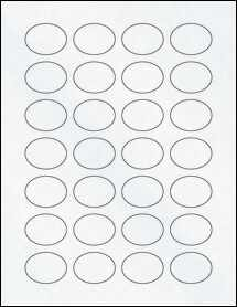 "Sheet of 1.5"" x 1.12"" Oval Clear Matte Laser labels"