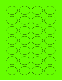 """Sheet of 1.5"""" x 1.125"""" Oval Fluorescent Green labels"""