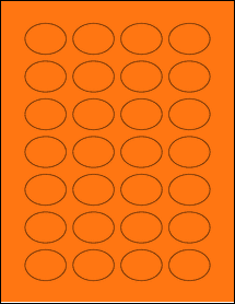 "Sheet of 1.5"" x 1.125"" Oval Fluorescent Orange labels"