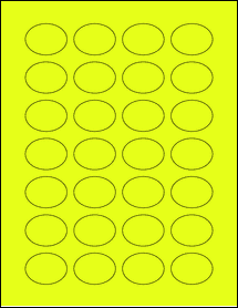 "Sheet of 1.5"" x 1.125"" Oval Fluorescent Yellow labels"