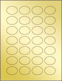 """Sheet of 1.5"""" x 1.125"""" Oval Gold Foil Laser labels"""