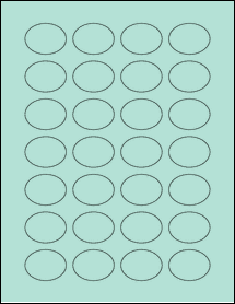 """Sheet of 1.5"""" x 1.125"""" Oval Pastel Green labels"""