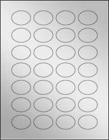 "Sheet of 1.5"" x 1.12"" Oval Silver Foil Inkjet labels"