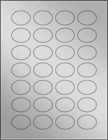 "Sheet of 1.5"" x 1.125"" Oval Weatherproof Silver Polyester Laser labels"