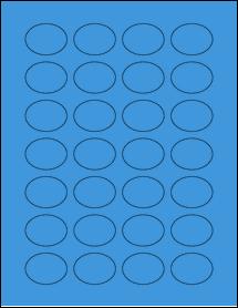 """Sheet of 1.5"""" x 1.125"""" Oval True Blue labels"""