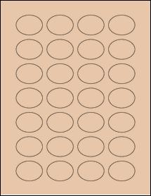 "Sheet of 1.5"" x 1.125"" Oval Light Tan labels"