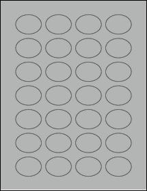 "Sheet of 1.5"" x 1.125"" Oval True Gray labels"