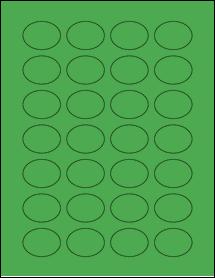 "Sheet of 1.5"" x 1.125"" Oval True Green labels"