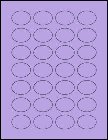 """Sheet of 1.5"""" x 1.125"""" Oval True Purple labels"""