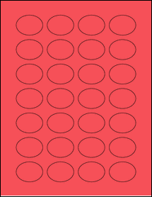 """Sheet of 1.5"""" x 1.125"""" Oval True Red labels"""