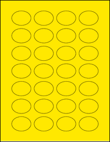 """Sheet of 1.5"""" x 1.125"""" Oval True Yellow labels"""