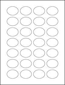 """Sheet of 1.5"""" x 1.125"""" Oval Weatherproof Matte Inkjet labels"""