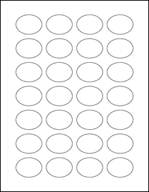 "Sheet of 1.5"" x 1.125"" Oval Aggressive White Matte labels"