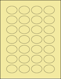 "Sheet of 1.5"" x 1.125"" Oval Pastel Yellow labels"
