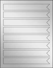 """Sheet of 7.5"""" x 1"""" Silver Foil Inkjet labels"""