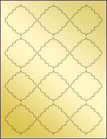 """Sheet of 2.5"""" x 2.5"""" Gold Foil Inkjet labels"""
