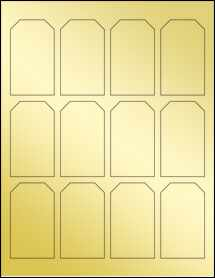 "Sheet of 1.75"" x 3"" Gold Foil Laser labels"