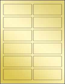 """Sheet of 3.75"""" x 1.4375"""" Gold Foil Laser labels"""