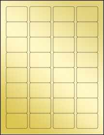 "Sheet of 1.75"" x 1.25"" Gold Foil Laser labels"