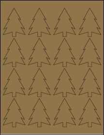 """Sheet of 1.8327"""" x 2.3458"""" Brown Kraft labels"""