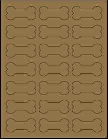 "Sheet of 2.3852"" x 1.0671"" Brown Kraft labels"