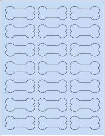 "Sheet of 2.3852"" x 1.0671"" Pastel Blue labels"