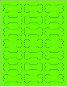 """Sheet of 2.3852"""" x 1.0671"""" Fluorescent Green labels"""