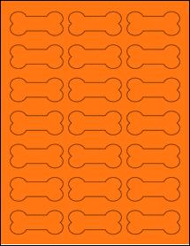 "Sheet of 2.3852"" x 1.0671"" Fluorescent Orange labels"