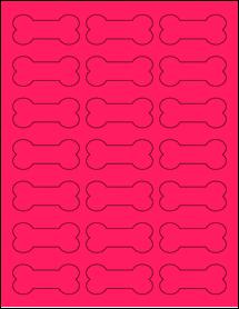 "Sheet of 2.3852"" x 1.0671"" Fluorescent Pink labels"