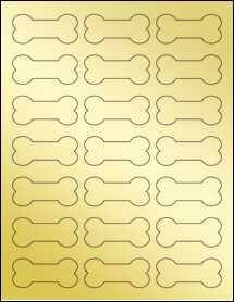 "Sheet of 2.3852"" x 1.0671"" Gold Foil Inkjet labels"