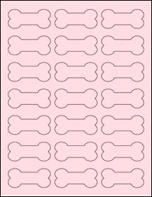 "Sheet of 2.3852"" x 1.0671"" Pastel Pink labels"