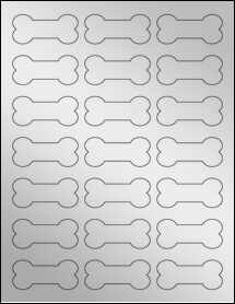 "Sheet of 2.3852"" x 1.0671"" Silver Foil Inkjet labels"