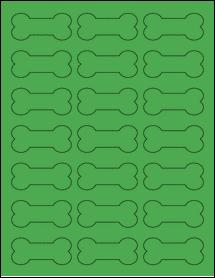 "Sheet of 2.3852"" x 1.0671"" True Green labels"