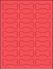 """Sheet of 2.3852"""" x 1.0671"""" True Red labels"""