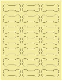 "Sheet of 2.3852"" x 1.0671"" Pastel Yellow labels"