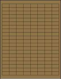 "Sheet of 1"" x 0.5"" Brown Kraft labels"