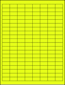 "Sheet of 1"" x 0.5"" Fluorescent Yellow labels"