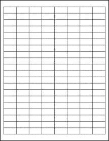 "Sheet of 1"" x 0.5"" Aggressive White Matte labels"