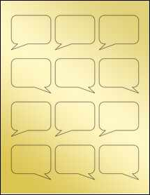 """Sheet of 2.26"""" x 1.96"""" Gold Foil Inkjet labels"""