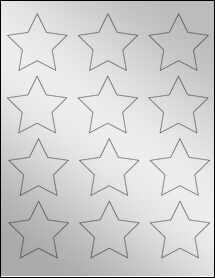 """Sheet of 2.3758"""" x 2.2601"""" Silver Foil Inkjet labels"""