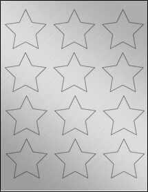 "Sheet of 2.3758"" x 2.2601"" Weatherproof Silver Polyester Laser labels"