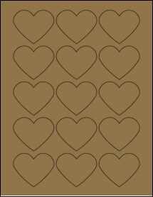 """Sheet of 2.2754"""" x 1.8872"""" Brown Kraft labels"""